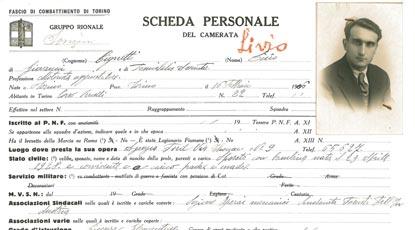 Particolare di una scheda personale (Archivio di Stato di Torino).