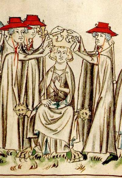 Incoronazione di Enrico VII, illustrazione dal Codex Balduini Trevirensis (particolare)