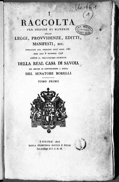 La copertina del volume Raccolta per ordine di materie delle leggi, editti, manifesti... di Felice Amato Duboin.