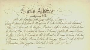Particolare del frontespizio della carta costituzionale, in vigore dal 1848 (ASTo, Museo Storico)