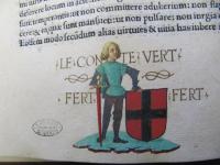 Miniatura di Amedeo VI di Savoia detto il Conte Verde (1334-1383), da un incunabolo del 1484 (ASTO, Corte, Biblioteca Antica, Robertus Valturius, Rei Militaris Libri XII. Verona 1484, foglio 40 verso)