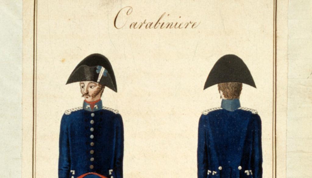 Uniforme per i carabinieri a cavallo, 1814 (ASTo, Sezioni Riunite, Ministero della guerra, Regia segreteria di guerra, Stabilimenti militari, n. 8)