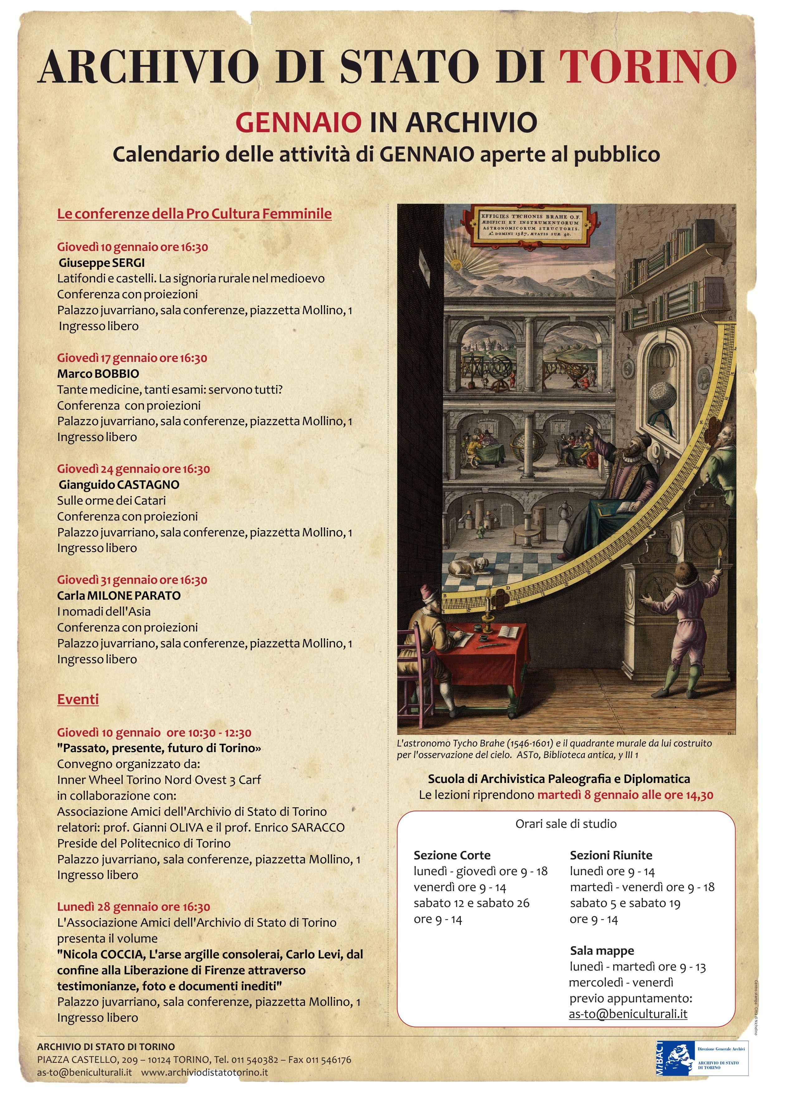 Calendario Politecnico.Gennaio In Archivio Archivio Di Stato Di Torino
